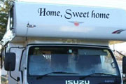 vinyl lettering on a motorhome example