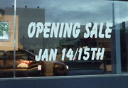 Vinyl window lettering image of opening sale